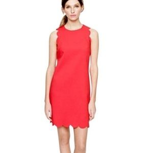 J. Crew Factory Scalloped Shift Dress Coral Pink